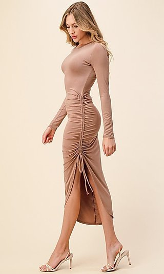 Asymmetrical Side-Ruched Long Sleeve Party Dress