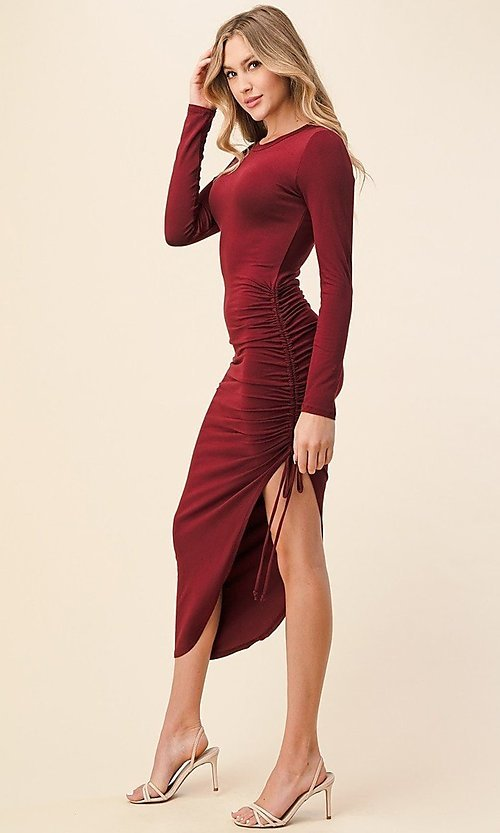 Image of asymmetrical side-ruched long sleeve party dress. Style: LAS-HAH-21-AD42389L-A Front Image