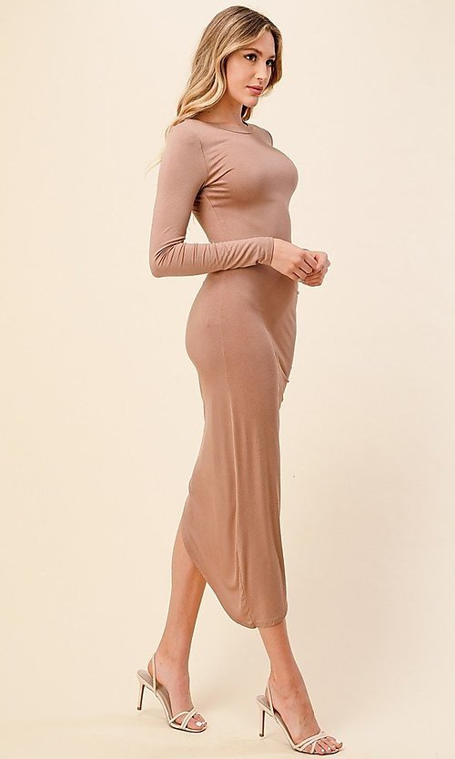 Image of asymmetrical side-ruched long sleeve party dress. Style: LAS-HAH-21-AD42389L-A Detail Image 2
