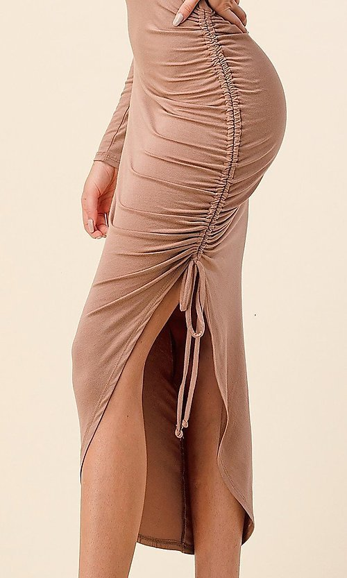 Image of asymmetrical side-ruched long sleeve party dress. Style: LAS-HAH-21-AD42389L-A Detail Image 3