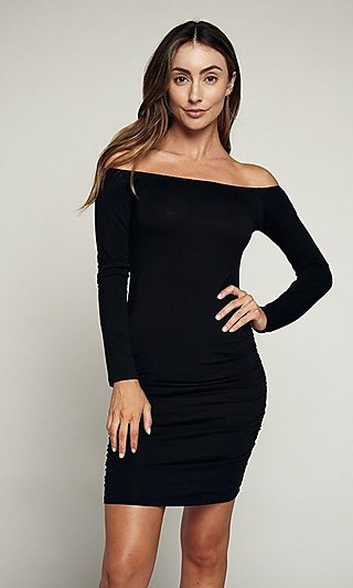 Long Sleeve Day-to-Night Ruched Short Dress