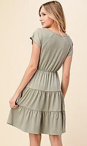 Image of knee-length casual dress with tiered skirt. Style: LAS-HAH-21-JD39754-A Back Image
