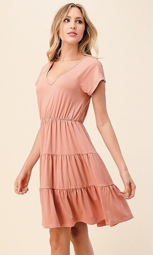 Image of knee-length casual dress with tiered skirt. Style: LAS-HAH-21-JD39754-A Front Image