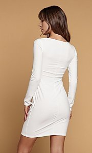 Image of long sleeve short black party dress with cut out. Style: LAS-HAH-21-JD41806L Back Image
