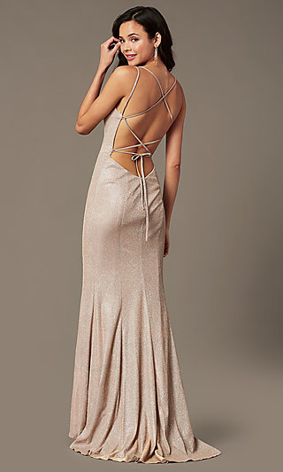 Long Rose Pink Glitter Open-Back Prom Gown