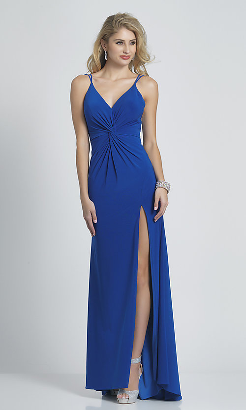 Image of royal blue long formal front-twist jersey gown. Style: DJ-21-A8698 Front Image