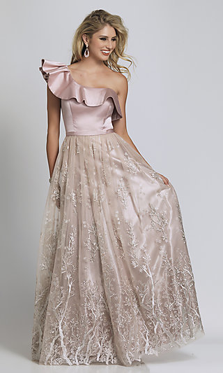 Mauve Pink Tree-Print One Shoulder Prom Ball Gown