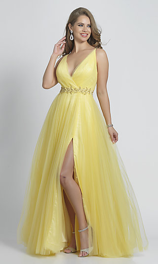 V-Neck Tulle Yellow Ball Gown for Prom