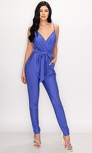 Belted Casual Jumpsuit with Pockets