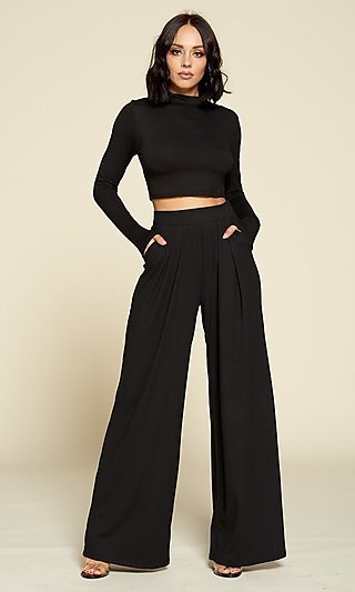 Mock-Neck Long Sleeve & Pants Black Matching Set