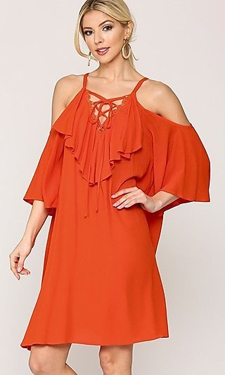 Casual Knee-Length Lace-Up Ruffle V-Neck Dress