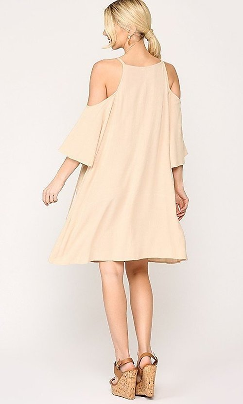 Image of casual knee-length lace-up shift dress. Style: LAS-GIG-21-HR5035 Back Image