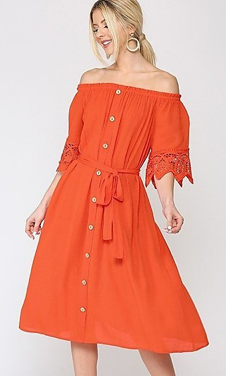 Casual Front Button-Up Off-the-Shoulder Midi Dress