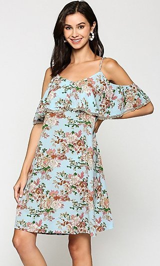 Casual Light Blue Short Floral Ruffle Shift Dress