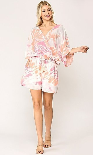 Dolman Sleeve Casual Print Romper with Pockets