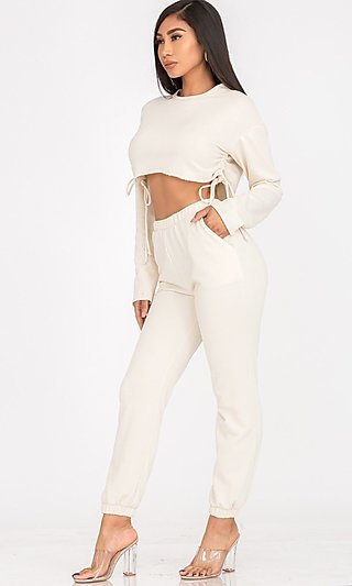 Cropped Side-Tie Top & Matching Sweatpants Set