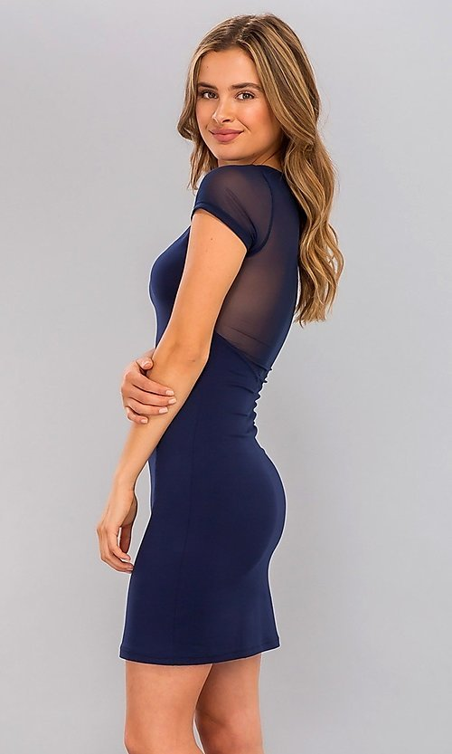 Image of short navy blue sheer-sleeve cocktail dress. Style: LAS-CAP-21-BD2425 Front Image