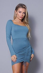 Image of long sleeve short sexy party dress with side tie. Style: LAS-CEF-21-D10194 Detail Image 3