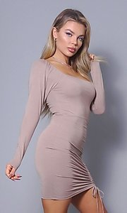Image of long sleeve short sexy party dress with side tie. Style: LAS-CEF-21-D10194 Detail Image 2