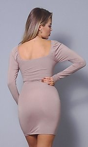 Image of long sleeve short sexy party dress with side tie. Style: LAS-CEF-21-D10194 Back Image