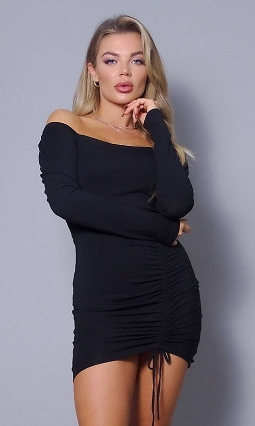 Image of long sleeve short sexy party dress with side tie. Style: LAS-CEF-21-D10194 Front Image