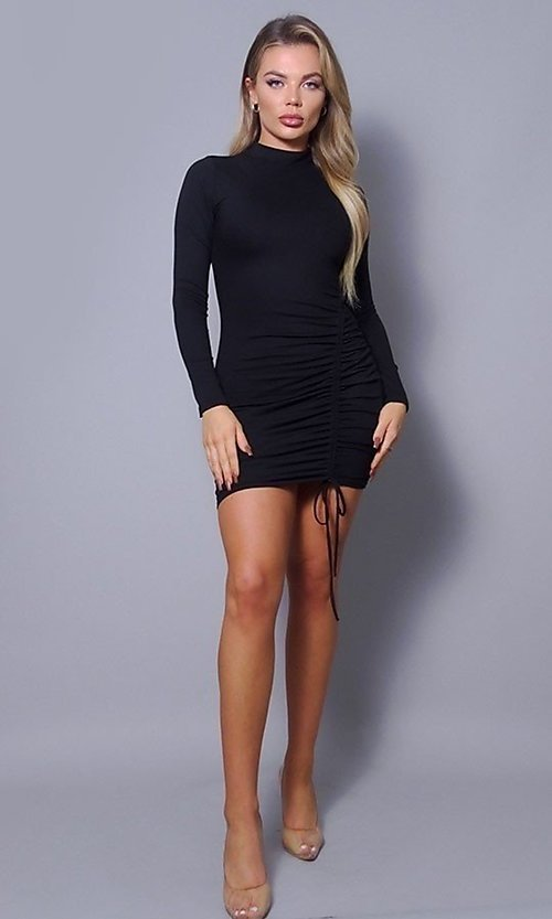 Image of long sleeve sexy short cocktail party dress. Style: LAS-CEF-21-D10252 Detail Image 3