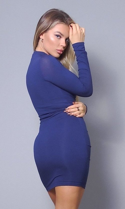 Image of long sleeve sexy short cocktail party dress. Style: LAS-CEF-21-D10252 Back Image