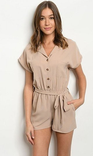 Button-Up Collared Short-Sleeve Casual Taupe Romper