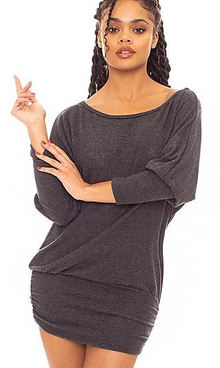 Short Casual Tunic Dress with Long Sleeves
