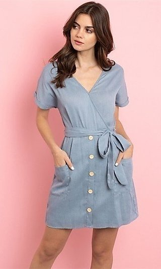 Short Cotton Casual Dress with Pockets