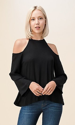 High-Neck Cold-Shoulder Casual Women's Top