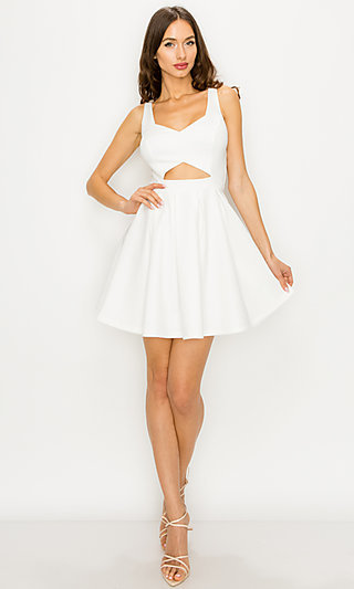 Short Cut-Out A-Line Caged-Back Ivory Party Dress