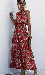 Image of print high-neck long casual maxi dress. Style: LAS-ESL-21-47376DC Front Image