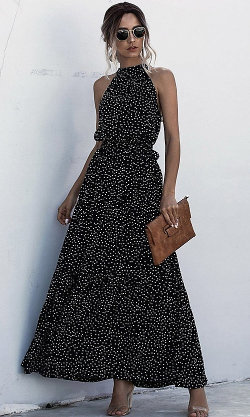 Image of print high-neck long casual maxi dress. Style: LAS-ESL-21-47376DC Detail Image 1