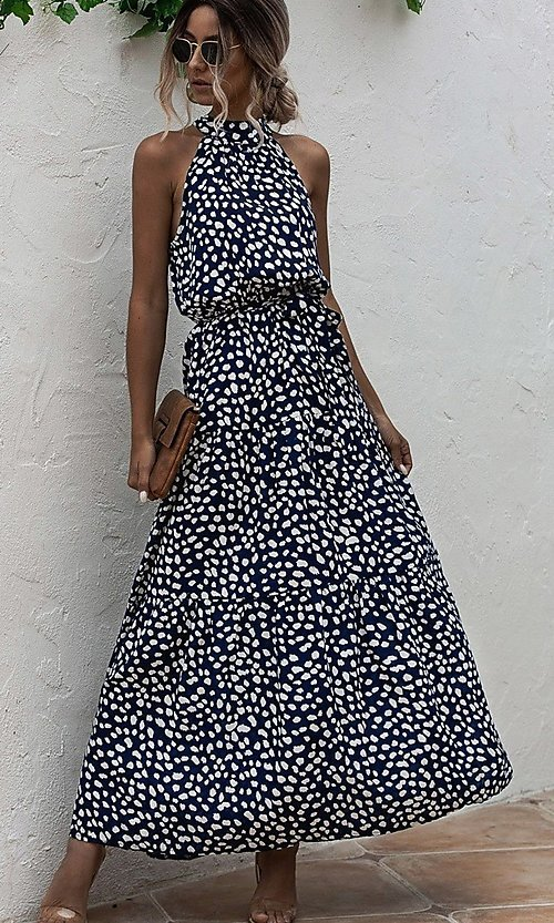 Image of print high-neck long casual maxi dress. Style: LAS-ESL-21-47376DC Detail Image 2