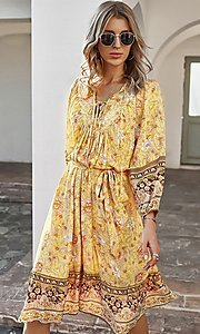 Image of casual knee-length print dress with sleeves. Style: LAS-ESL-21-49363DDY Detail Image 2