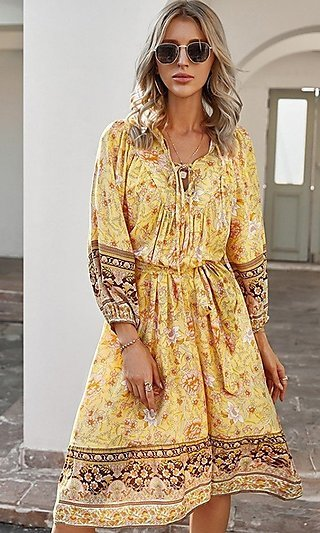 Casual Knee-Length Print Dress with Sleeves