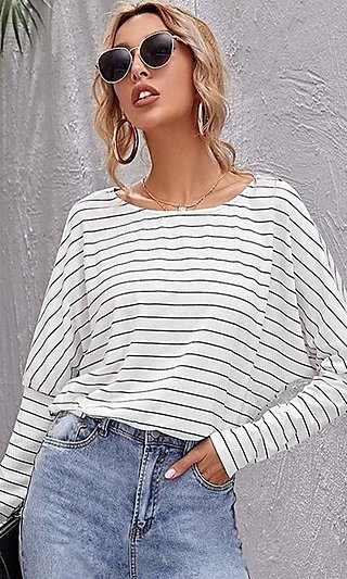 Casual Striped White Long Sleeve Shirt