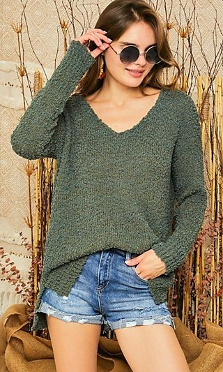 Soft Popcorn Sweater with Long Sleeves