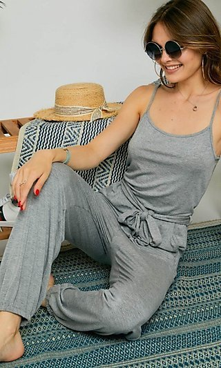 Sleeveless Heather Gray Casual Jumpsuit