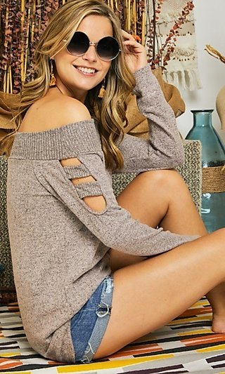 Off-the-Shoulder Two-Toned Long Sleeve Sweater