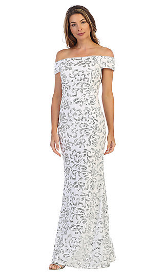 Sequin Off-the-Shoulder Long Shail K Prom Gown 1102
