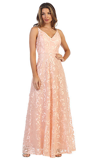 Shail K Blush Pink Long Prom Dress 1103