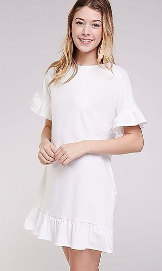 Short Casual Shift Dress with Ruffle Short Sleeves