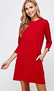 Image of simple short red shift dress with pockets. Style: LAS-2H-21-D3119 Front Image