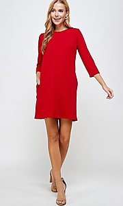 Image of simple short red shift dress with pockets. Style: LAS-2H-21-D3119 Detail Image 2