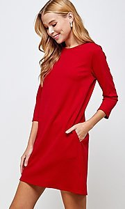 Image of simple short red shift dress with pockets. Style: LAS-2H-21-D3119 Detail Image 3