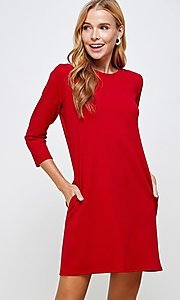 Image of simple short red shift dress with pockets. Style: LAS-2H-21-D3119 Detail Image 4