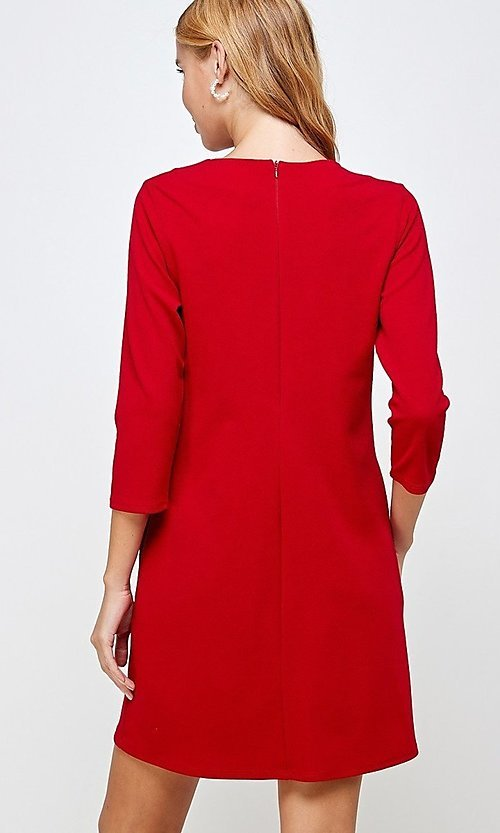 Image of simple short red shift dress with pockets. Style: LAS-2H-21-D3119 Back Image