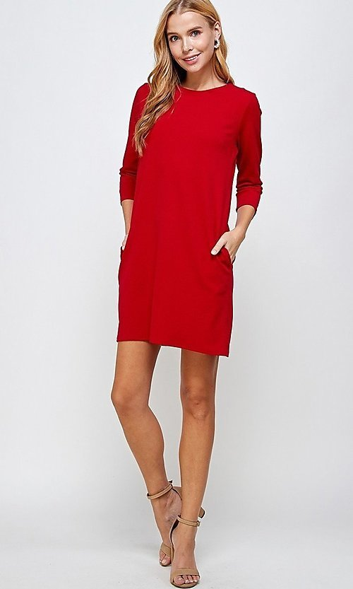 Image of simple short red shift dress with pockets. Style: LAS-2H-21-D3119 Detail Image 1